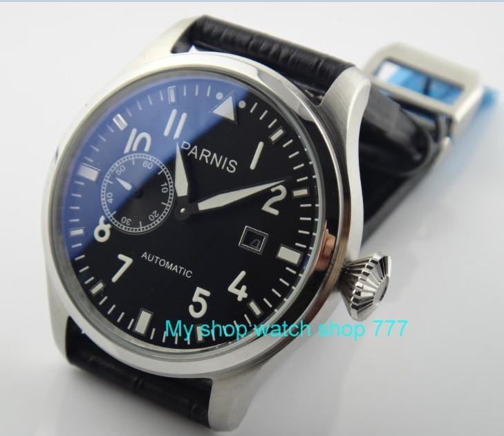 лучшая цена 47mm big PARNIS Black dial Automatic Self-Wind Mechanical movement luminous Mechanical watches Auto Date Men's watches 20sy