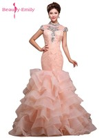 Beauty Emily Stain Diamond Sexy Long Evening Dress Party Elegant Vestido De Festa Long Prom Gown 2018 Mermaid Long Evening Dress