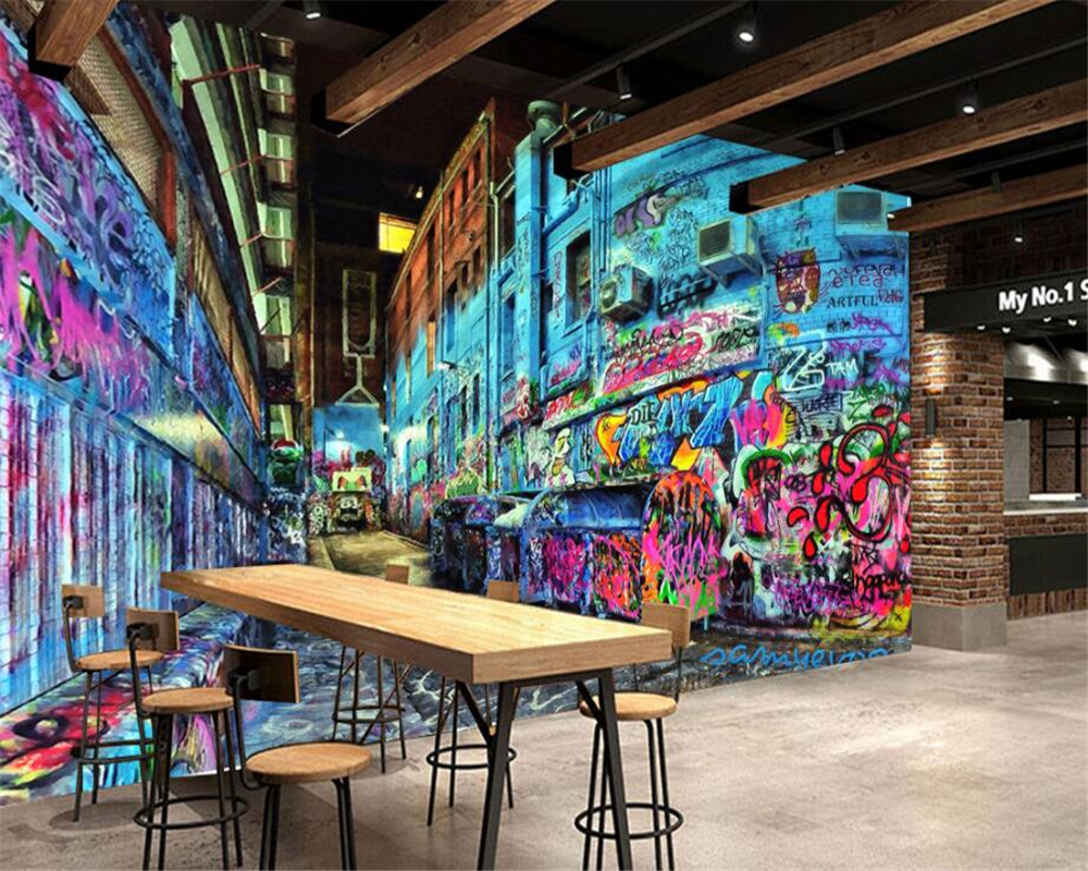 Beibehang Custom Wallpaper Personalized Stereo Street Graffiti Animals Trend Element Tooling Tv Background Wall 3D Wallpaper In Wallpapers From Home