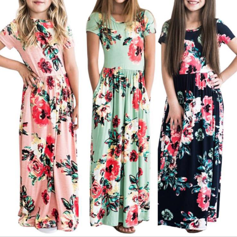 Free Long Dress Fashion Bohemian Dress Girl Short Sleeve Floral Summer Maxi Dress Kid Party Princess Floral Dress