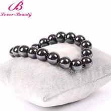 Lover Beauty Women Black Magnetic Bracelet Beads Hematite Stone Therapy Health Care Magnet Hematite Beads Bracelet