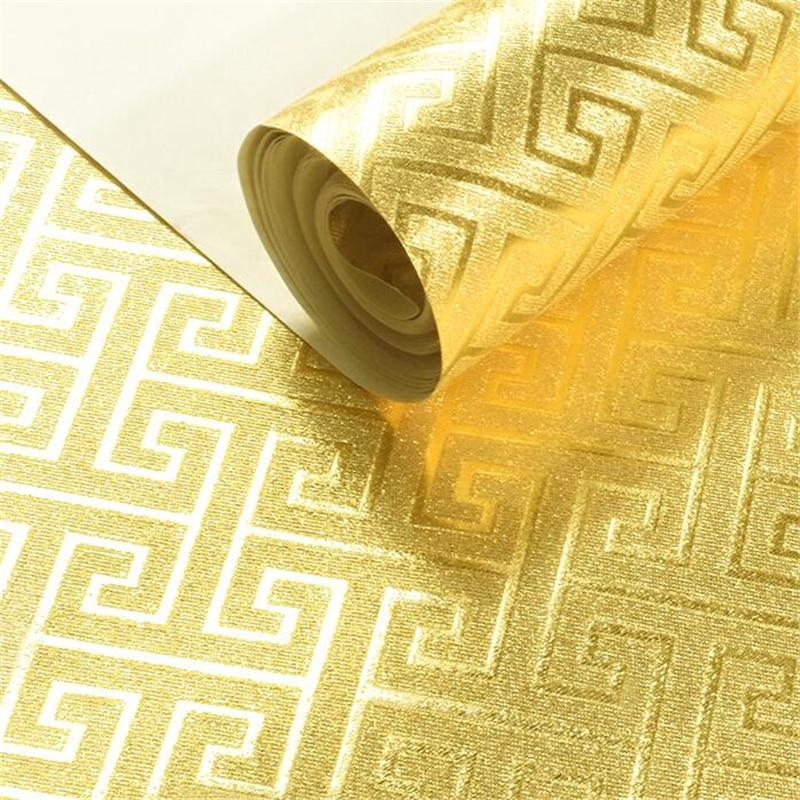 Beibehang nouveau style chinois feuille d'or papier peint profond en relief feuille d'argent or argent classique plafond TV fond d'écran
