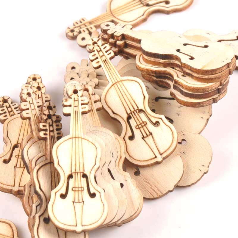 15Pcs 55x20mm Natrual Violin Wood Slices For Home Decor DIY Crafts Scrapbook Accessories Handmade Wooden Ornaments M1754