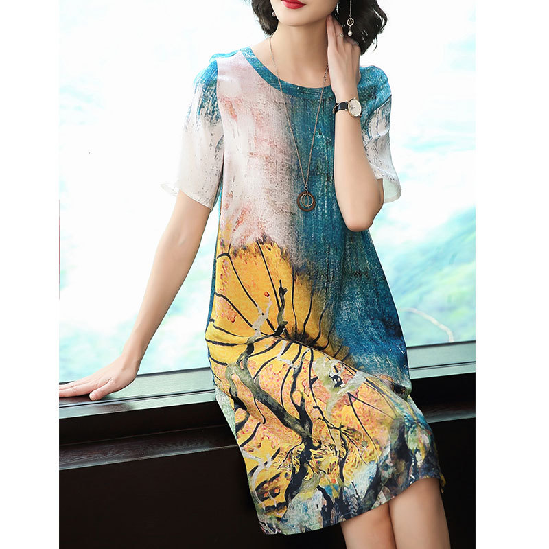 Women's Dresses2019 New Summer Oil Painting Printed Silk Dress Fashion Loose Casual Dress Large Size M-3XL High Quality Vestidos