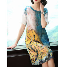 Womens Dresses2019 new summer oil painting printed silk dress fashion loose casual large size M-3XL high quality vestidos