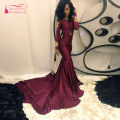 African Burgundy Prom Dresses Long Sleeve Mermaid Evening dresses elegant charming Party Dresses Evening wear  Z354