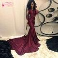 Africano Borgoña Prom Vestidos de Manga Larga de La Sirena vestidos de Noche elegante Vestidos de Fiesta con encanto ropa de Noche Z354