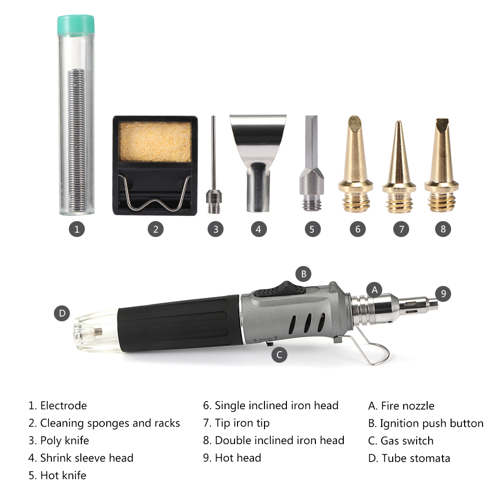 Image 2 - Self Ignition 10 In 1 Gas Soldering Iron Cordless Welding Torch Kit Tool Outdoor Portable Butane TorchElectric Soldering Irons   - AliExpress