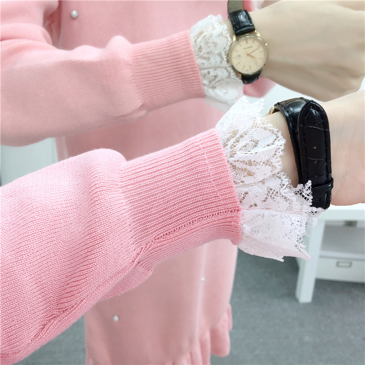 2019 Women Autumn Winter Dress Elegant Sweet Lace Beading Long Sleeve Knitted Sweater Dress Bodycon Party Dresses Slim Vestidos