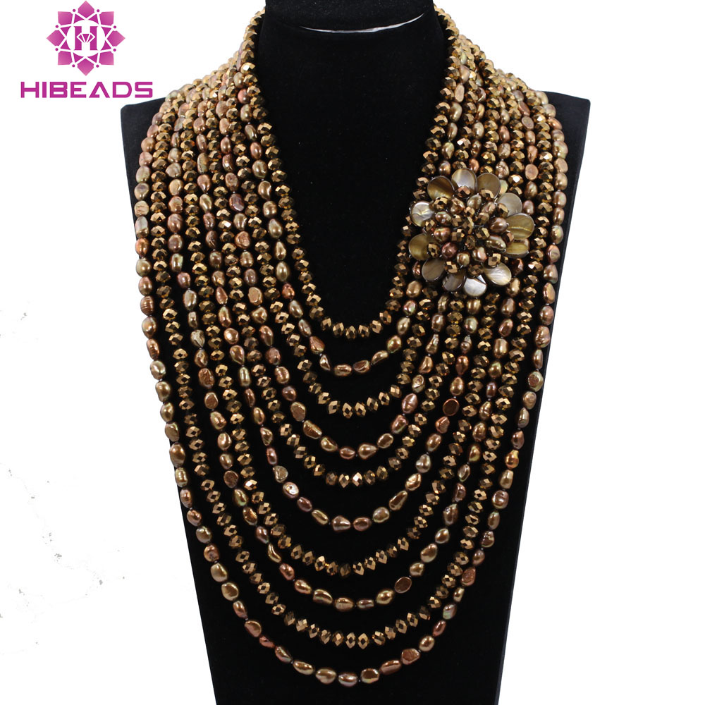 10 Strands Pearls and Crystal Exclusive Coffee Gold Baroque Pearls Wedding Jewelry Bib Necklace Bridal Gift Free Shipping ABH38510 Strands Pearls and Crystal Exclusive Coffee Gold Baroque Pearls Wedding Jewelry Bib Necklace Bridal Gift Free Shipping ABH385