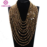 10 Strands Pearls and Crystal Exclusive Coffee Gold Baroque Pearls Wedding Jewelry Bib Necklace Bridal Gift Free Shipping ABH385
