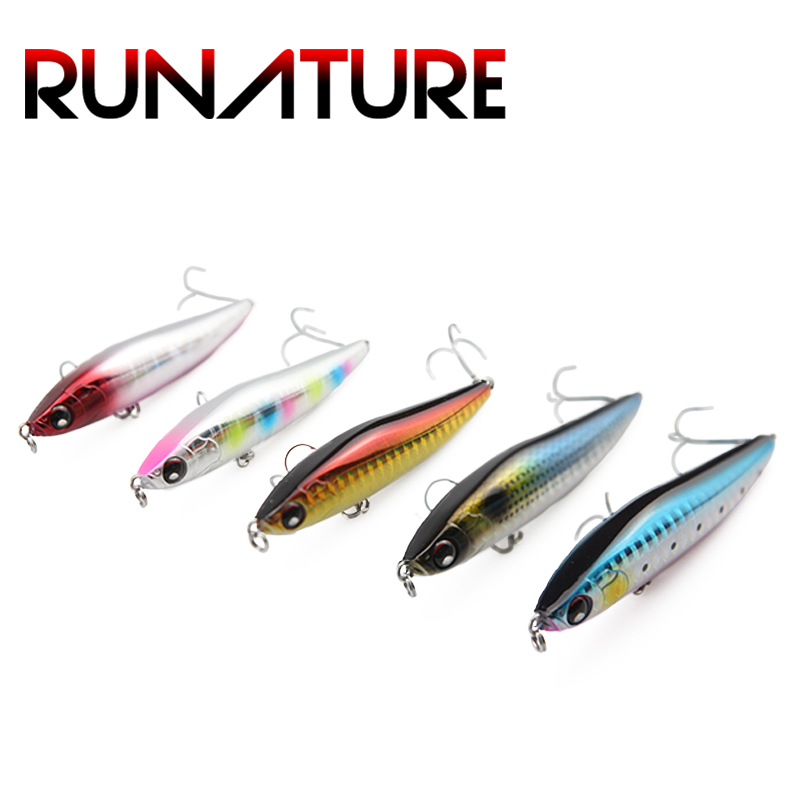 Runature Pencil Lure Sinking 80mm/19g Hard Pencil Fishing Lure Fish for Bass Fishing Artificail Lure 3D Eyes Crankbait Wobbler free shipping saury fish sinking pencil long shot fishing lure 75mm 80mm 85mm