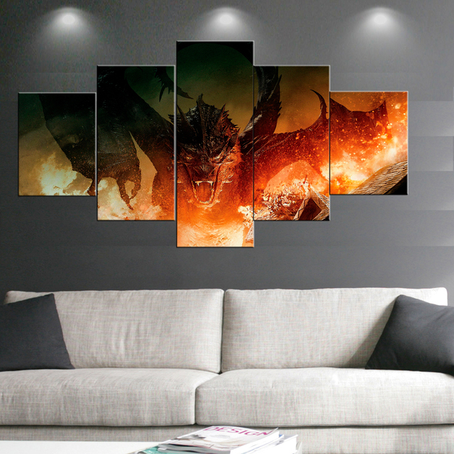 5 Panel Canvas Painting the hobbit Movie Painting Prints Posters ...