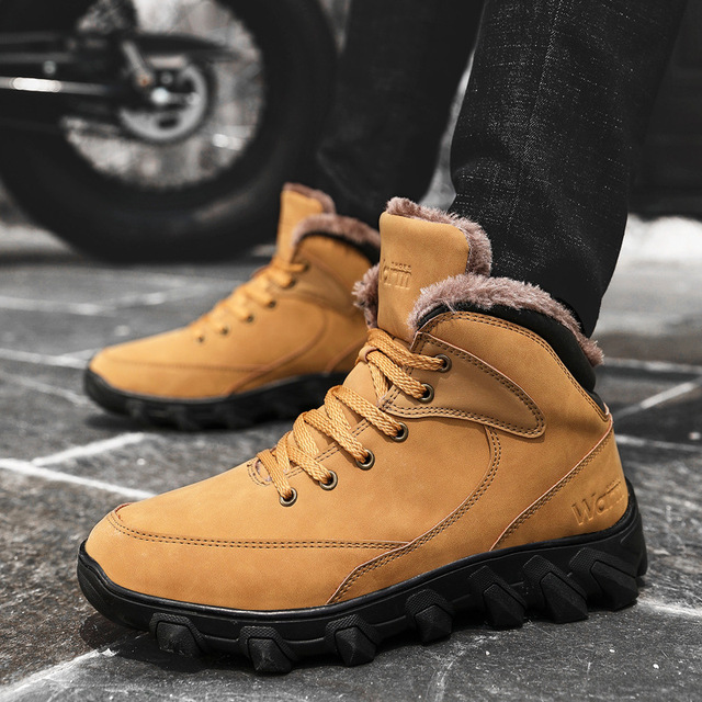US $32.06 45% OFF|Mens Winter Snow Boots Fully Fur Lined Outdoor Shoes Keep Warm Ankle Booties Lace Up Winter Sneakers for Father's Day in Oxfords