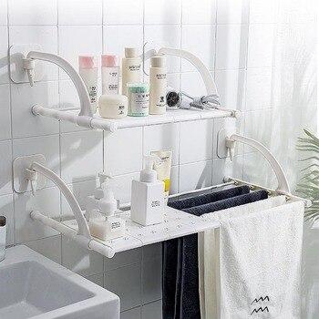 Вешалка для одежды Полка для ванной вешалка для полотенец свободное отверстие органайзер для ванной комнаты подставка для подвешивания на ...