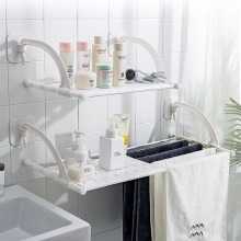 Bathroom Rack Toilet Storage Towel Free Hole Organizer Wall Hanging Telescopic Finishing
