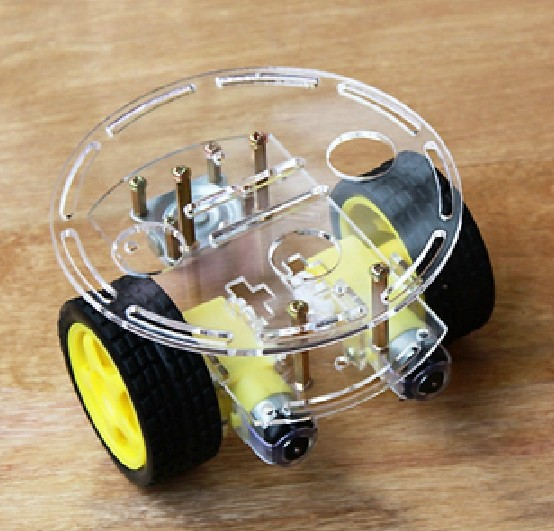 Diameter 13CM Smart car chassis with velocity tracing obstacle avoidance control TINY4 race cars speed test counting module for smart tracing car yellow