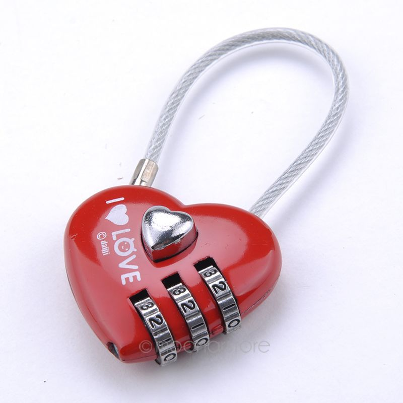 Mini Padlocks Cute Resetable Combination Padlock Heart Shaped Locking Tools 3 Digits Security Small Suitcase Padlock Red Color best girl toys 2017