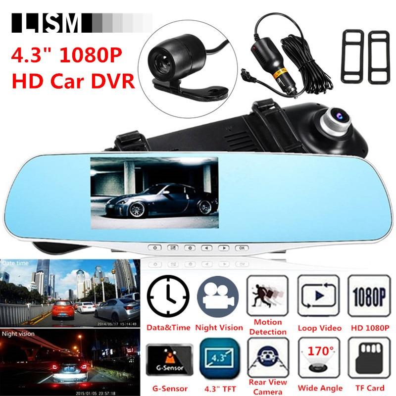 170Degree 1080P HD Car DVR Wide Vision Front Rear View Camera DVRs Car Mirror Smart Dash Camera Dashcam Cam RearView Mirror Kit