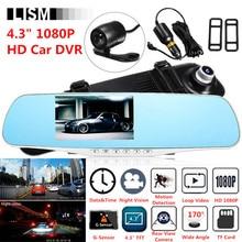 170 градусов 1080 P HD Видеорегистраторы для автомобилей Широкое Видение спереди заднего вида Камера DVRs зеркало автомобиля смарт-dash Камера Dashcam Cam зеркало заднего вида