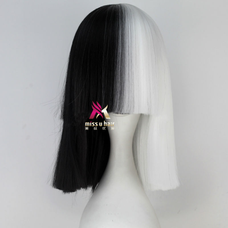 Synthetic Wigs Miss U Hair High Temperature Fiber Half Black Half Blonde White Hair Medium Kinky Straight Cosplay Costume Party Wig For Women