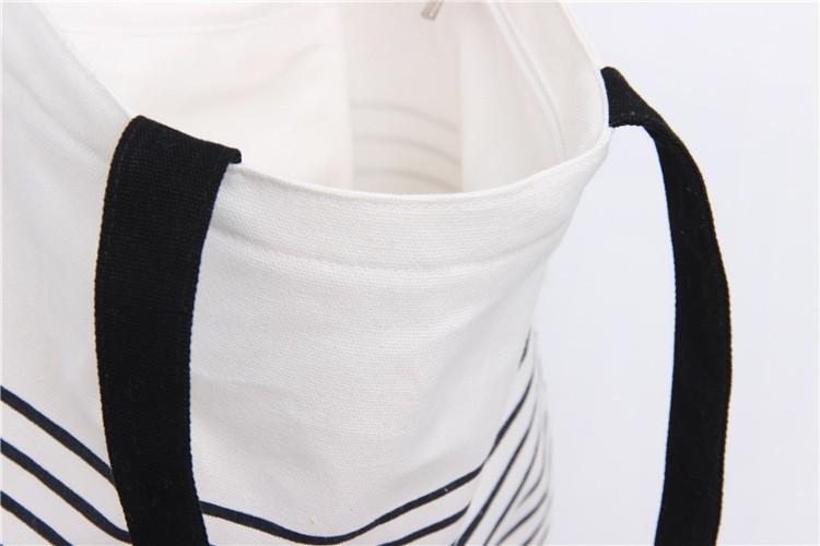 Reusable Striped Canvas Shopping Bag