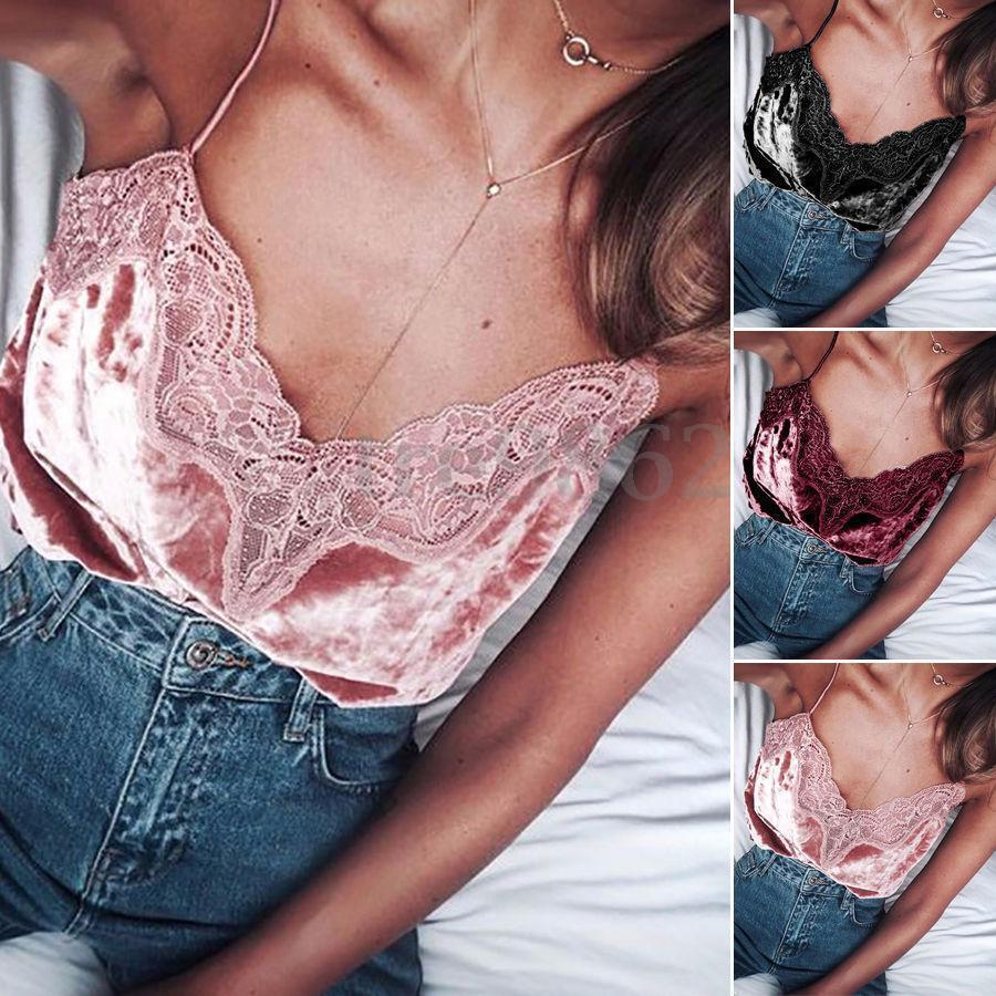 New Fashion Women Sexy Summer Lace Vest   Tops   Camis Sleeveless Velvet   Tank     Tops   Solid Camis
