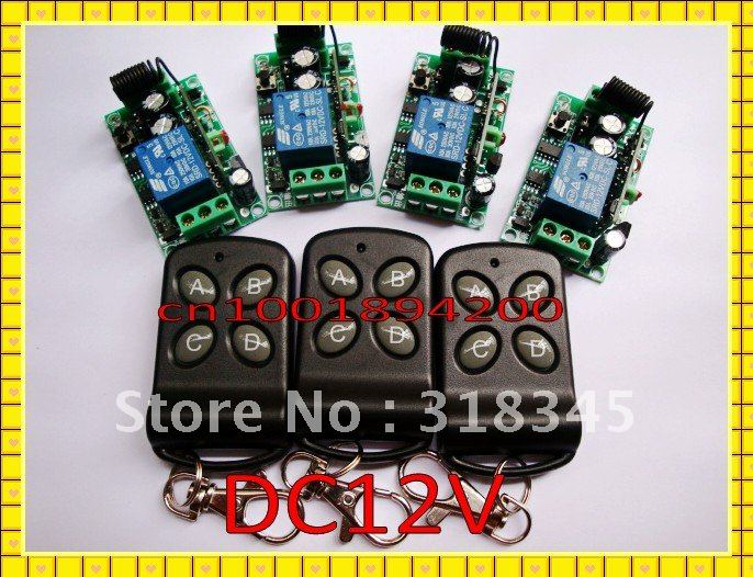 wireless switch DC12V RF Wireless remote control switch system 3 transmitter +4 receiver(switch)10A 1CH Toggle Momentary Latched new dc12v 4 relay ch momentary toggle latched rf remote control switch system wireless receiver