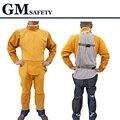 Couro de vaca Segurança Coverall Soldagem tamanho Ajustável de Manga Comprida Calças Compridas Roupas para Homens & Soldadores De Solda de Proteção GM1012