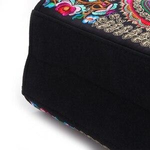 Image 5 - Nouvelle arrivée femmes sac à main brodé à fleurs ethnique Boho toile Shopping fourre tout sac à glissière