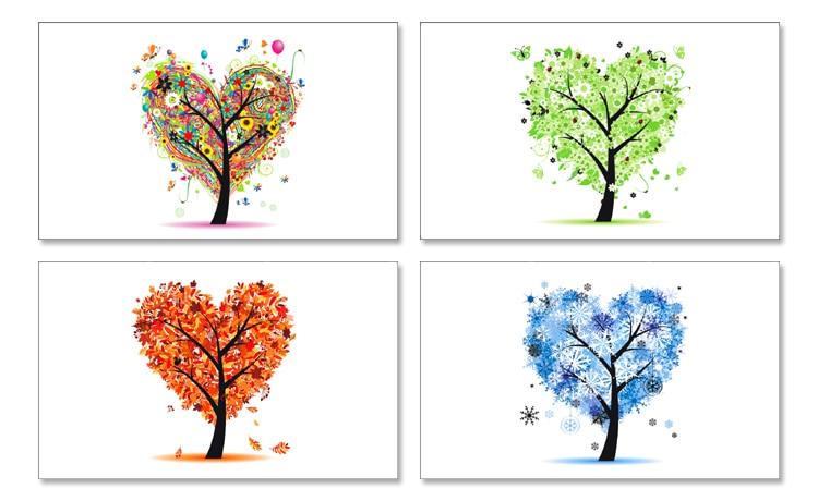 Ofis Ve Okul Malzemeleriten Kitaplarde Dört Mevsim Ağacı