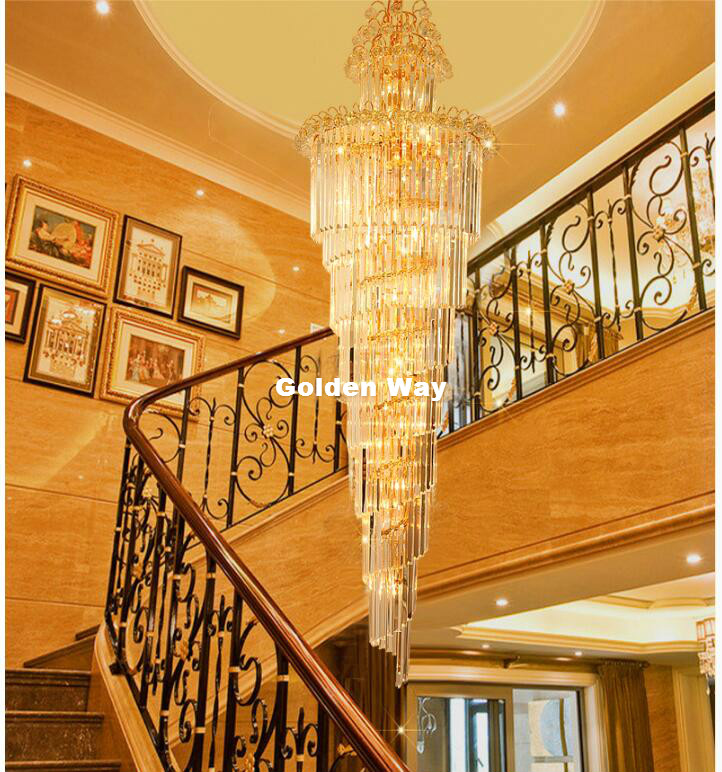 Kostenloser Versand Moderne Kristall kronleuchter LED Kerzenhalter Lampen Moderne Treppe Kronleuchter Villa Wohnzimmer Hängen Beleuchtung - 6