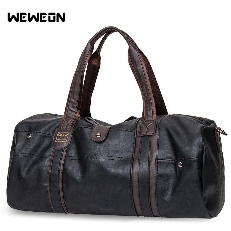 Men's Leather Sports Training Bag Large PU Gym Bag Fitness Sporting Bags Duffel Tote Travel Shoulder Handbag