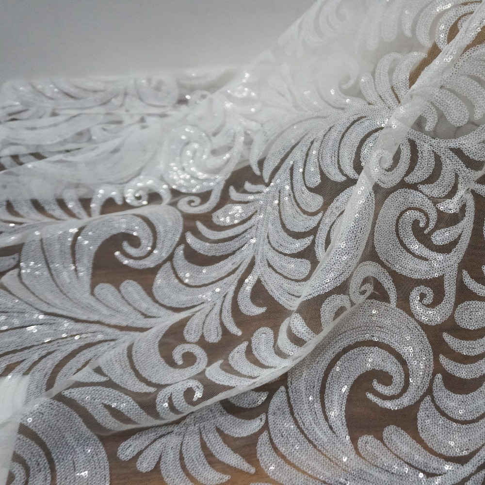 New arrival african white sequins lace fabric allover leaves pattern shiny sequined tulle fabric for wedding