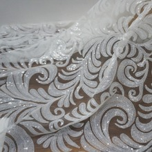 New arrival african white sequins lace fabric allover leaves pattern shiny sequined tulle for wedding dress bridal gown