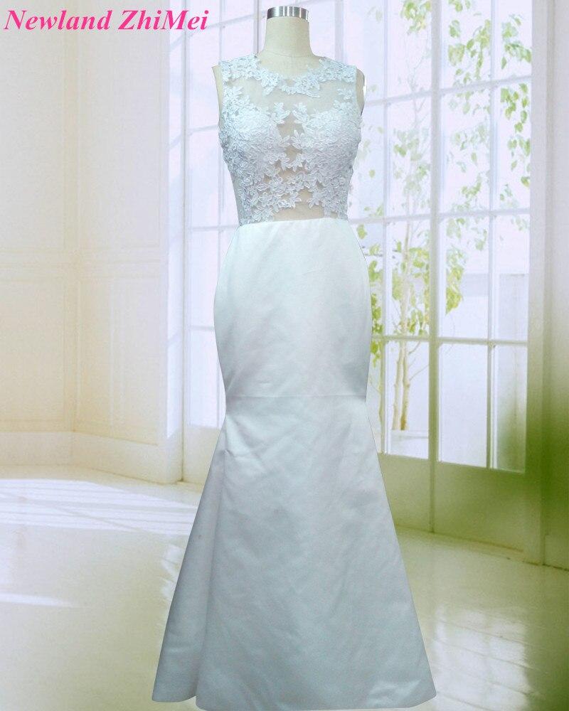 Simple Mermaid Satin Evening Dress Good Design See Through Applique ...