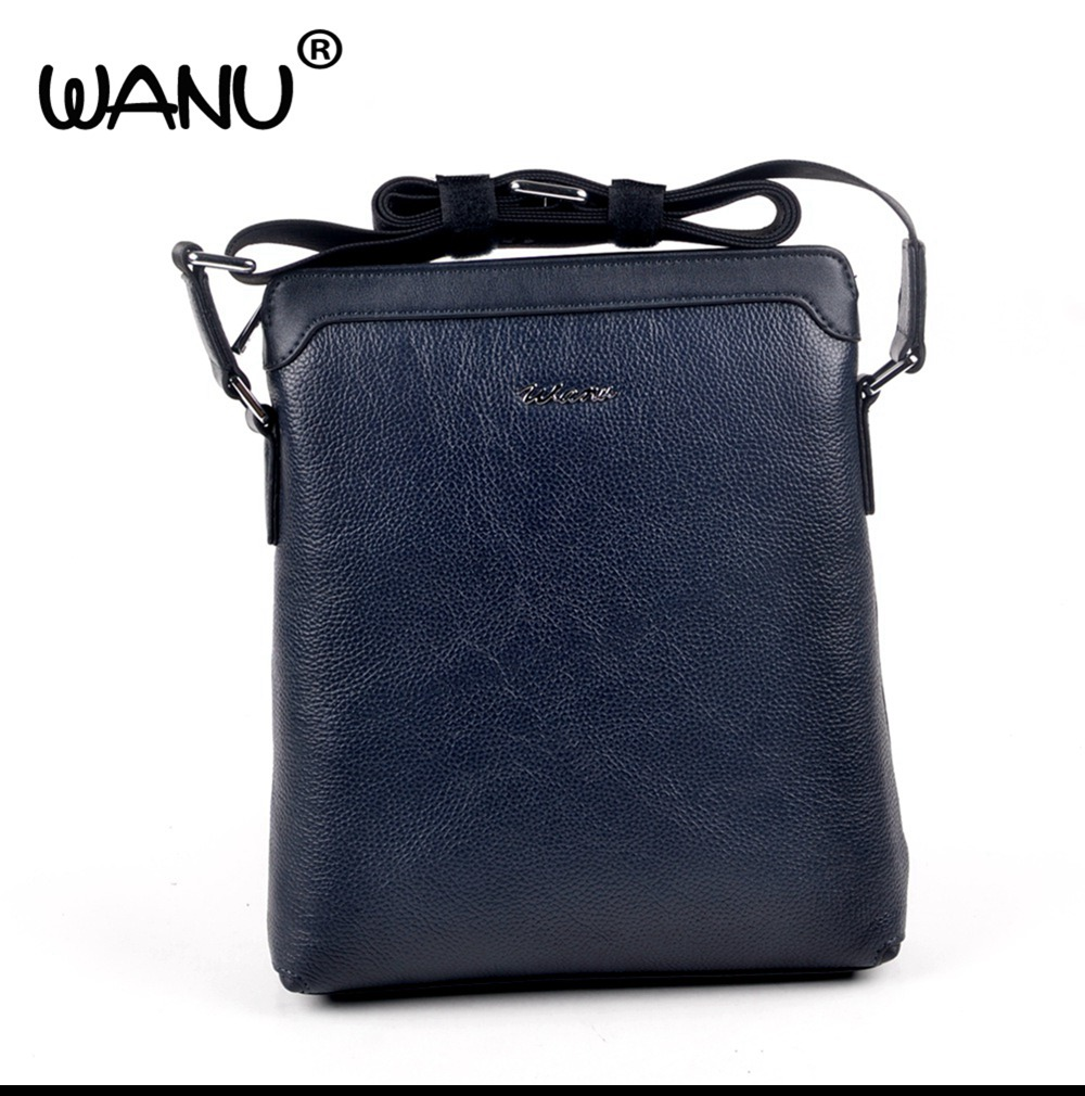 WANU 100% genuine leather men's shoulder bags male cow leather crossbody bag business office totes gift for husband son father