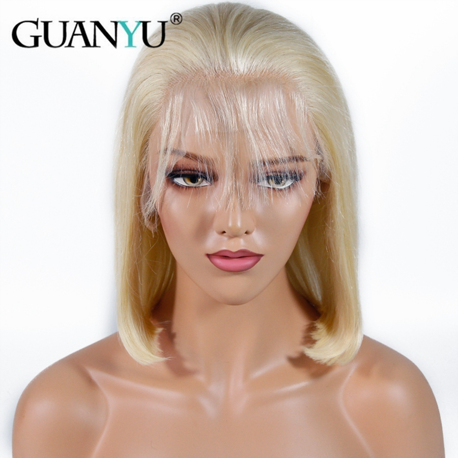 613 Honey Blonde Lace Front Human Hair Wig Short Bob Straight Lace Wigs Brazilian Remy Human Hair Middle Part Bob Lace Front Wig