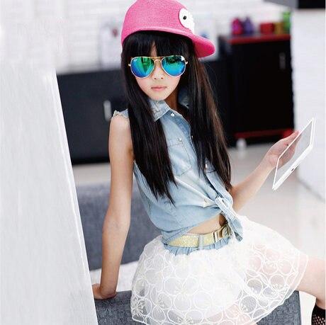 ФОТО Generation Hair Girls Summer Wear Children Cowboy Vest Attach Belt Short Suit 2 Pieces Kids Clothing Sets