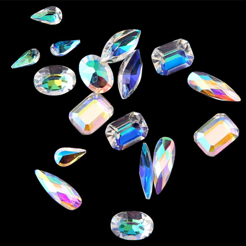1 Box Colorful Nail Rhinestones AB Diamond Marquise Water Drop Oval Shape Glass Gems 3d Glitter Nail Art Decorations Accessories in Rhinestones Decorations from Beauty Health