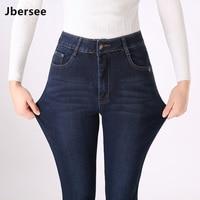 Jbersee Cashmere Warm Jeans Winter Women Jeans for Women High Waist Jeans Femme Plus Size Skinny Jeans Woman Denim Pants YZ2027