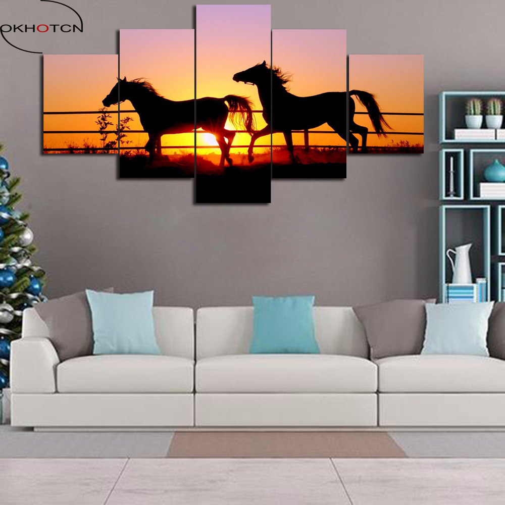 OKHOTCN Framed Wall Canvas Art Painting Poster For Room Home Decor 5 Panel Pictures Sunset Animal Horses Modern HD Printed Photo