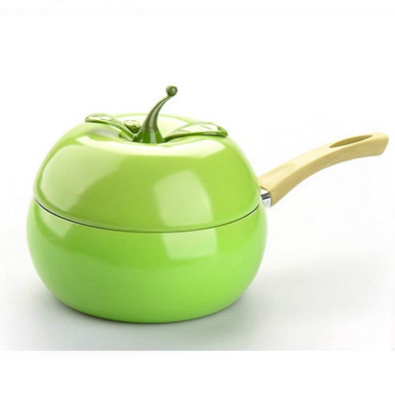 20CM Lovely Fruit Apple Milk Pot Non Stick Single Hot Milk Pan Handle Small Saucepan Boiling Pot Noodle Pot Induction Cooker