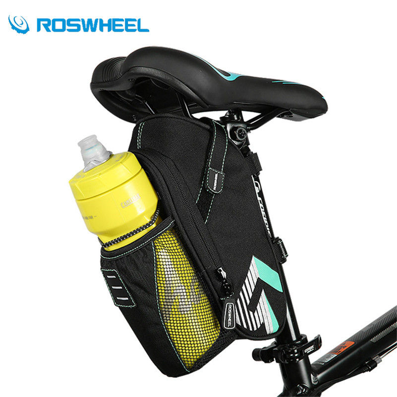 ROSWHEEL Waterproof Bicycle Saddle Bag With Water Bottle Pocket MTB Bike Accessories Rear Bags Cycling Rear Seat Tail Bike Bags