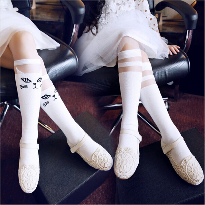 2016 Spring And Summer Transparent  Children Socks, Thin Socks Relent Socks Girl Striped Cat High Tube Cartoon  Socks