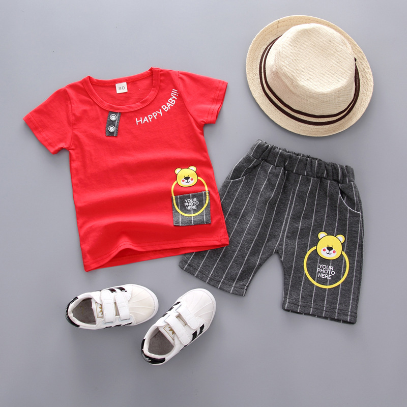 Cute Baby boys Clothes 2018 Summer girl Infant Clothing Cartoon bear T-shirt + Shorts Outfits Kids Bebes Jogging Suit Tracksuit