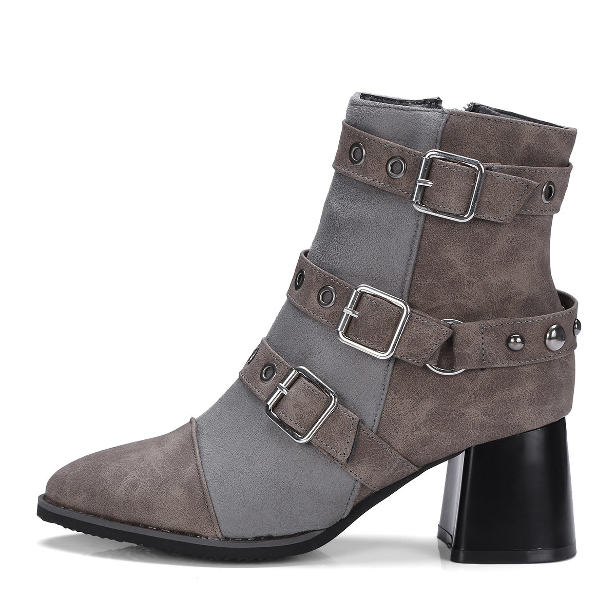 Ladies Pu Leather Ankle Boots Thick High Heel Fashion Bootie Pointed Toe Zip Winter Women Shoes Gray Black Drap Shipping