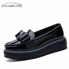 2017 en cuir Verni Casual Arc Muffin fond femmes chaussures slip sur blanc noir Vintage oxford chaussures pour femmes NOUS taille 8
