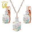 Gemstoneking 4.85 ct simulado opal creado sapphire pendientes colgante del collar 18 k de oro rosa plateado joyería de plata set