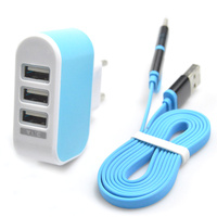 New High Quality 3 Ports Wall Home Travel AC Charger EU Plug With 2in1 Type C